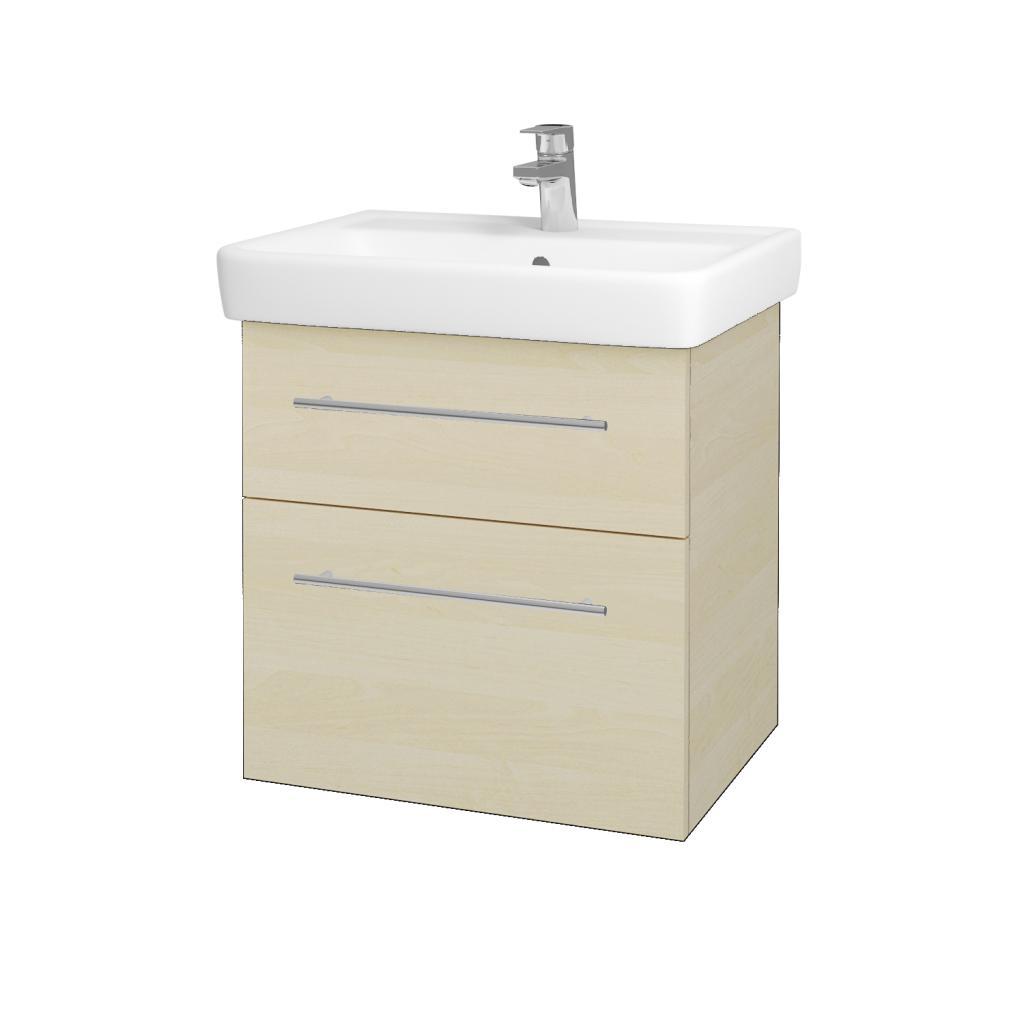 Dřevojas - Koupelnová skříňka Q MAX SZZ2 60 - D02 Bříza / Úchytka T02 / D02 Bříza (60285B)
