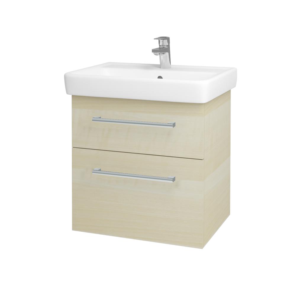 Dřevojas - Koupelnová skříňka Q MAX SZZ2 60 - D02 Bříza / Úchytka T03 / D02 Bříza (60285C)