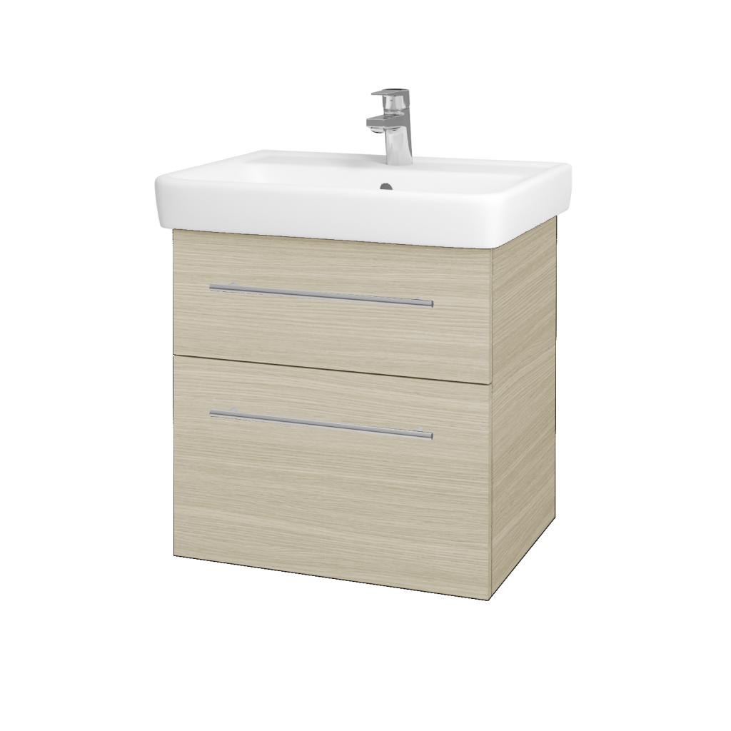 Dřevojas - Koupelnová skříňka Q MAX SZZ2 60 - D04 Dub / Úchytka T02 / D04 Dub (60346B)