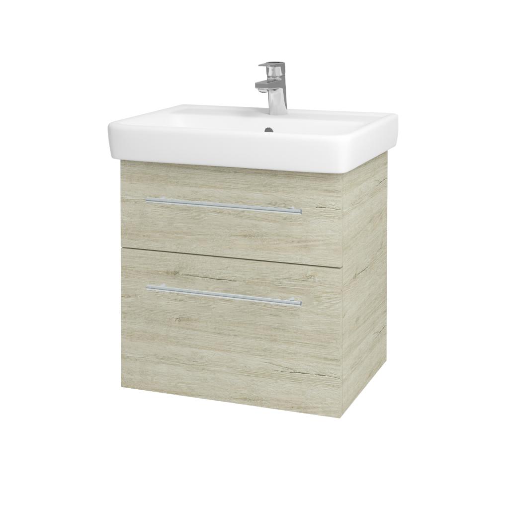 Dřevojas - Koupelnová skříňka Q MAX SZZ2 60 - D05 Oregon / Úchytka T02 / D05 Oregon (61312B)