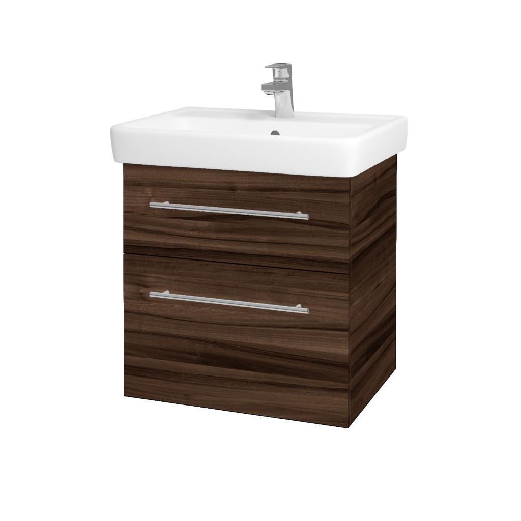 Dřevojas - Koupelnová skříňka Q MAX SZZ2 60 - D06 Ořech / Úchytka T02 / D06 Ořech (60353B)