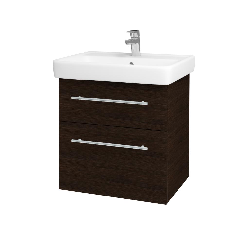 Dřevojas - Koupelnová skříňka Q MAX SZZ2 60 - D08 Wenge / Úchytka T02 / D08 Wenge (60292B)