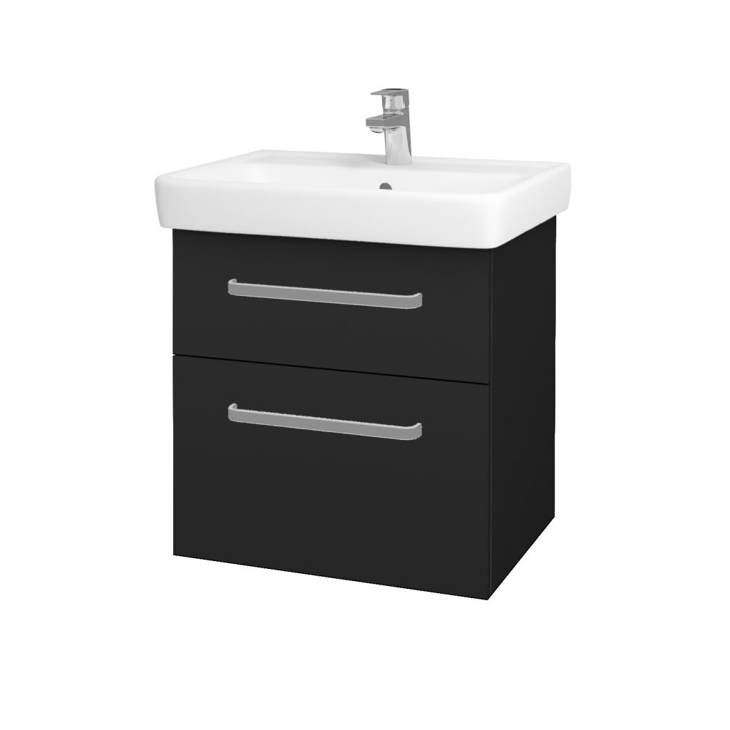 Dřevojas - Koupelnová skříňka Q MAX SZZ2 60 - L03 Antracit vysoký lesk / Úchytka T01 / L03 Antracit vysoký lesk (60377A)