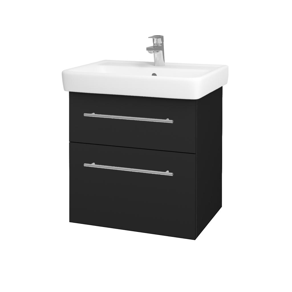 Dřevojas - Koupelnová skříňka Q MAX SZZ2 60 - L03 Antracit vysoký lesk / Úchytka T02 / L03 Antracit vysoký lesk (60377B)