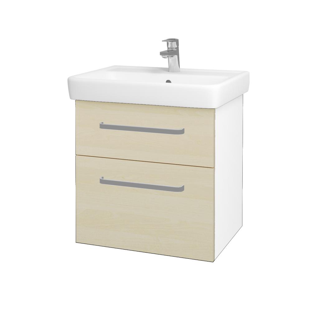 Dřevojas - Koupelnová skříňka Q MAX SZZ2 60 - N01 Bílá lesk / Úchytka T01 / D02 Bříza (60025A)