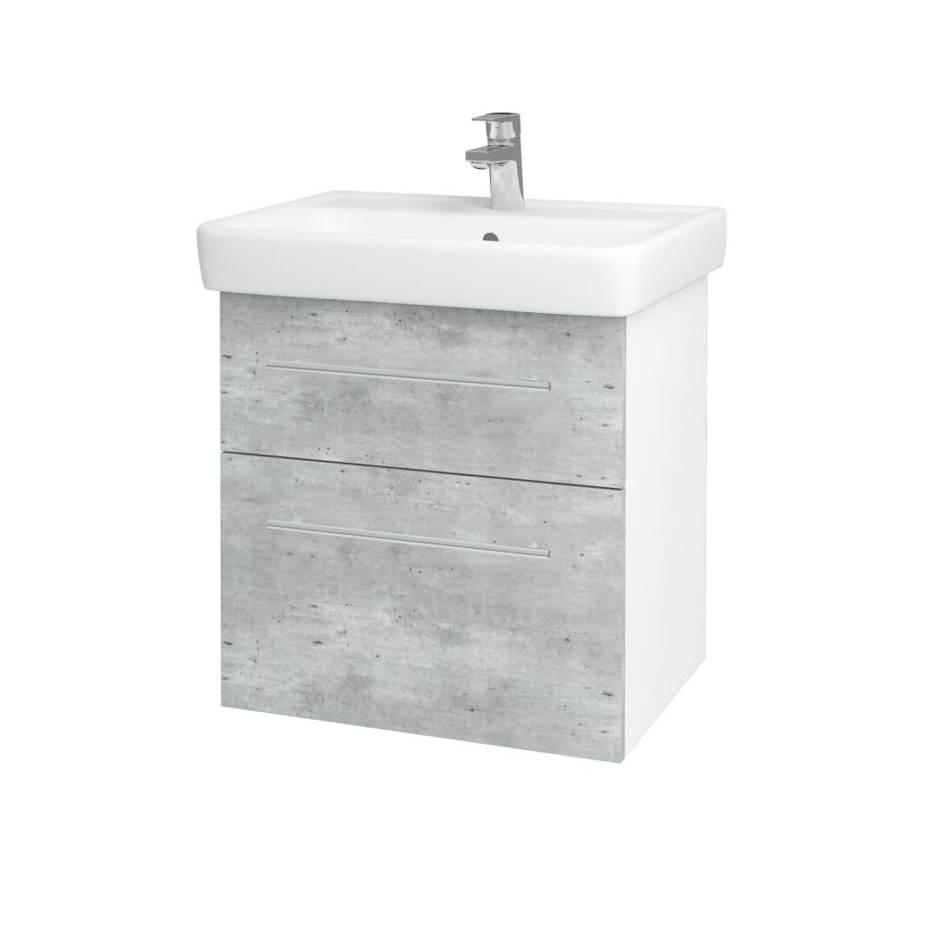 Dřevojas - Koupelnová skříňka Q MAX SZZ2 60 - N01 Bílá lesk / Úchytka T02 / D01 Beton (67482B)