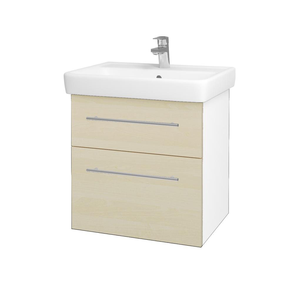Dřevojas - Koupelnová skříňka Q MAX SZZ2 60 - N01 Bílá lesk / Úchytka T02 / D02 Bříza (60025B)