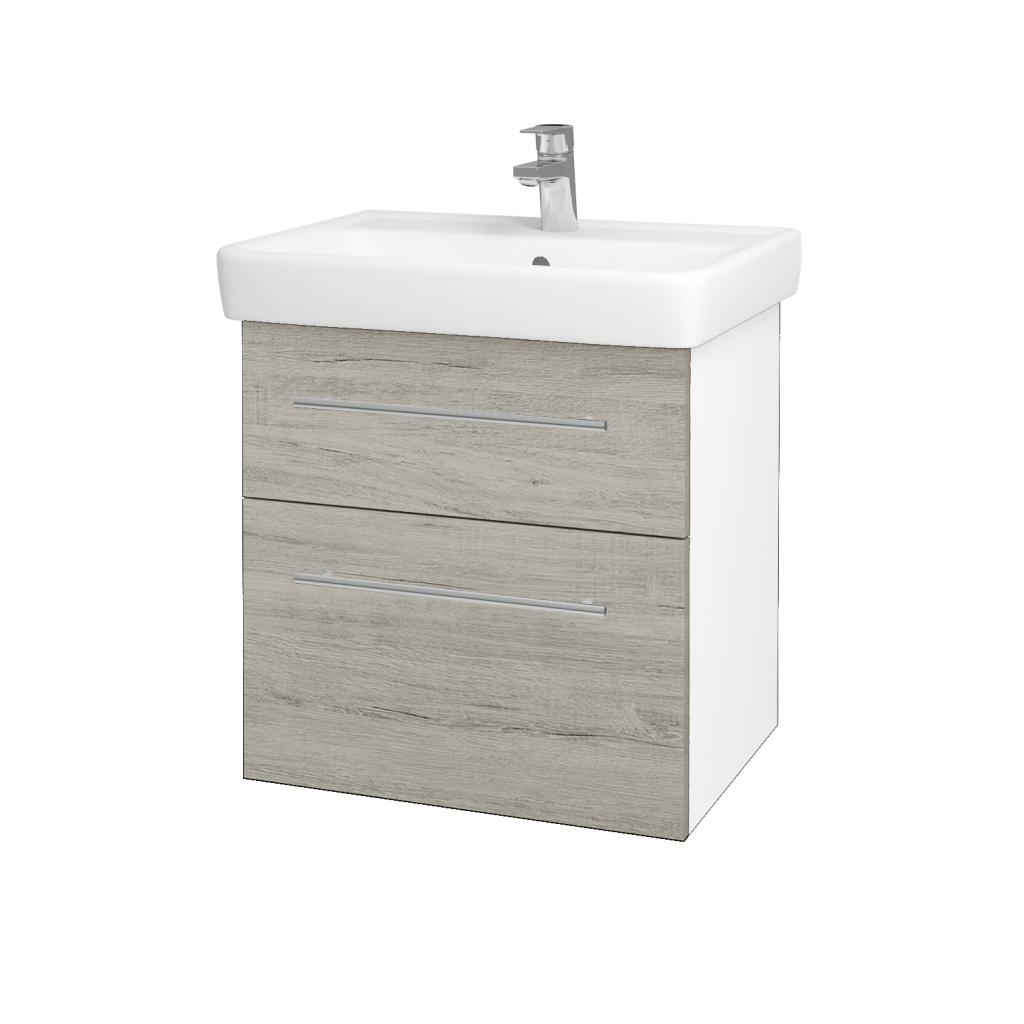 Dřevojas - Koupelnová skříňka Q MAX SZZ2 60 - N01 Bílá lesk / Úchytka T02 / D05 Oregon (61725B)