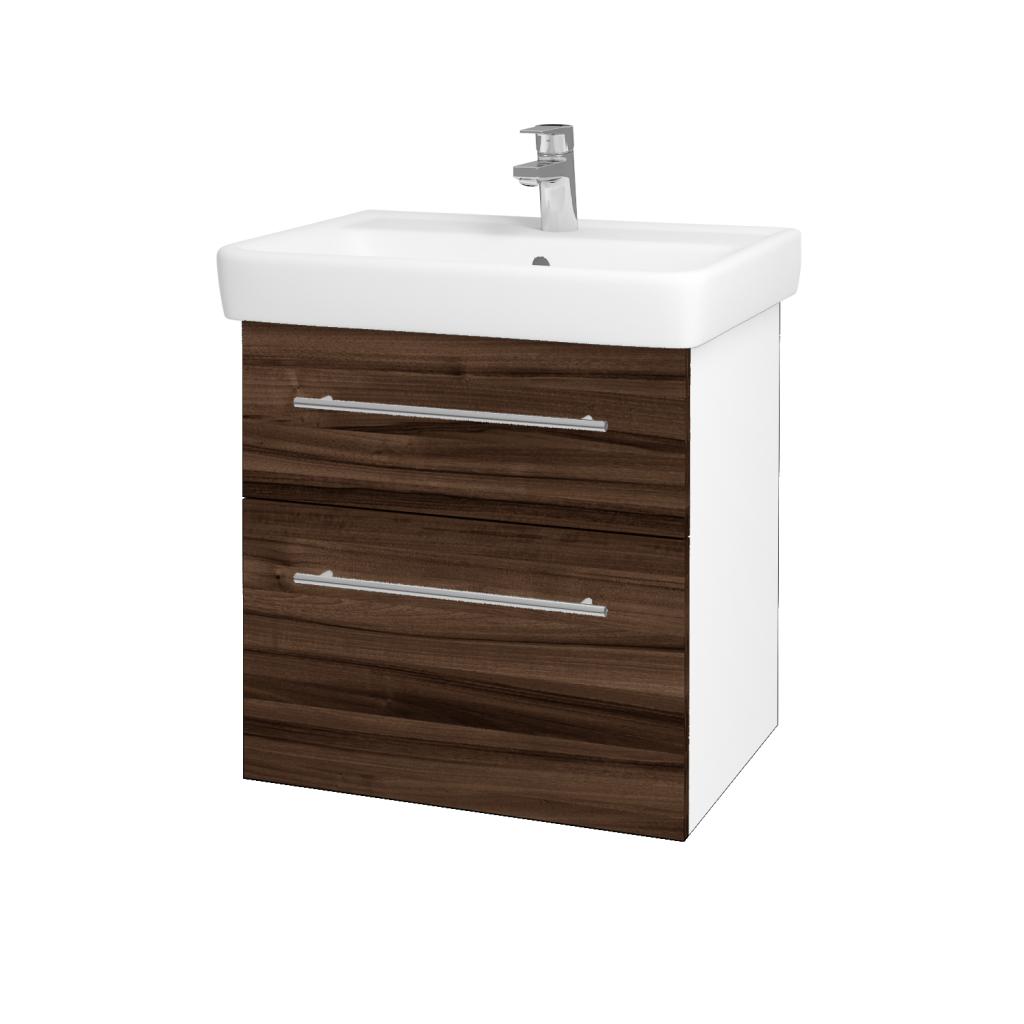 Dřevojas - Koupelnová skříňka Q MAX SZZ2 60 - N01 Bílá lesk / Úchytka T02 / D06 Ořech (60230B)
