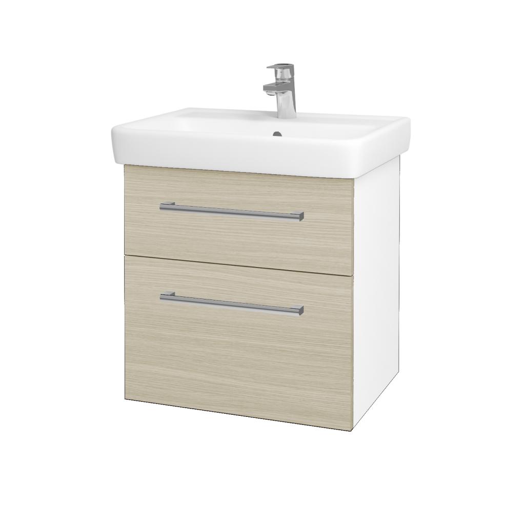 Dřevojas - Koupelnová skříňka Q MAX SZZ2 60 - N01 Bílá lesk / Úchytka T03 / D04 Dub (60223C)