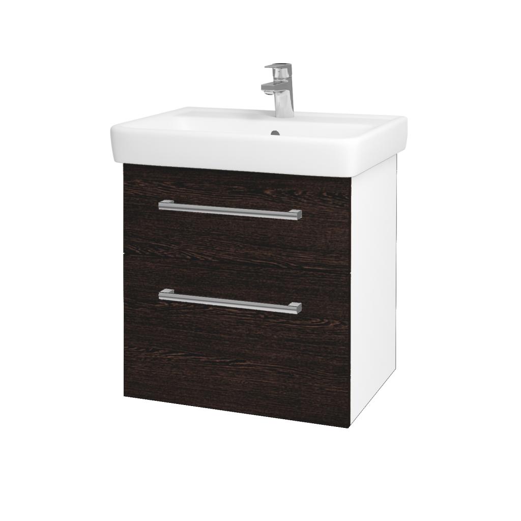 Dřevojas - Koupelnová skříňka Q MAX SZZ2 60 - N01 Bílá lesk / Úchytka T03 / D08 Wenge (60032C)