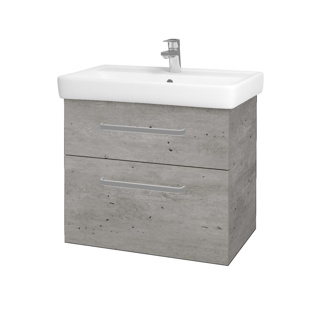 Dřevojas - Koupelnová skříňka Q MAX SZZ2 70 - D01 Beton / Úchytka T01 / D01 Beton (67536A)