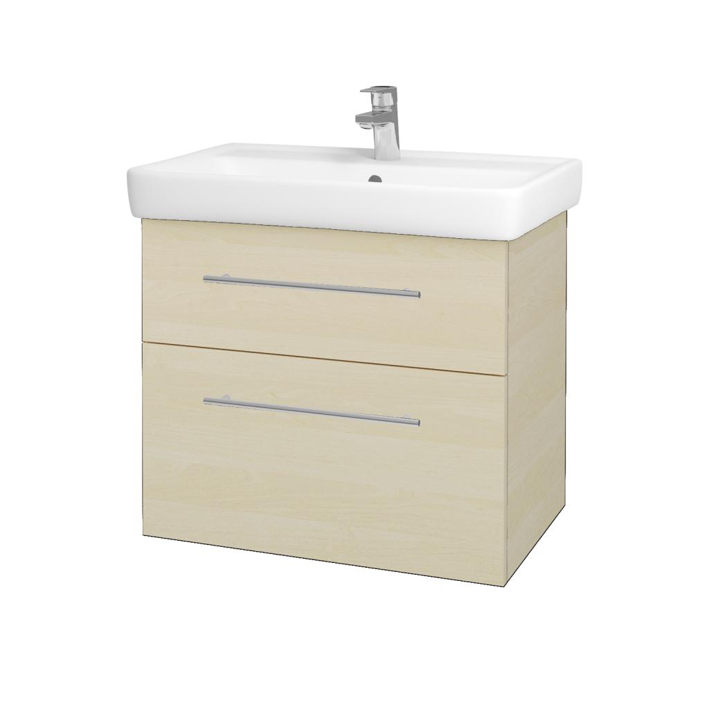 Dřevojas - Koupelnová skříňka Q MAX SZZ2 70 - D02 Bříza / Úchytka T02 / D02 Bříza (60308B)
