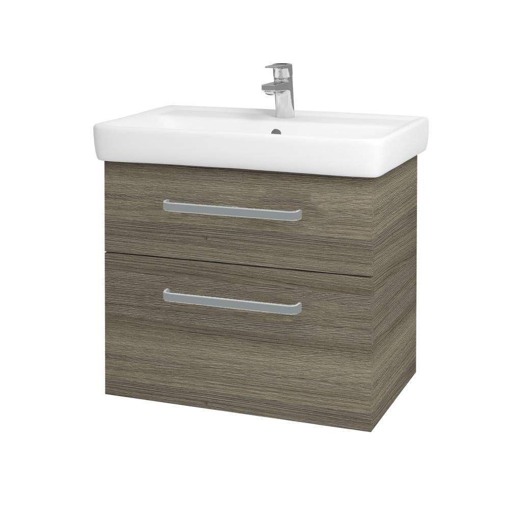 Dřevojas - Koupelnová skříňka Q MAX SZZ2 70 - D03 Cafe / Úchytka T01 / D03 Cafe (68458A)