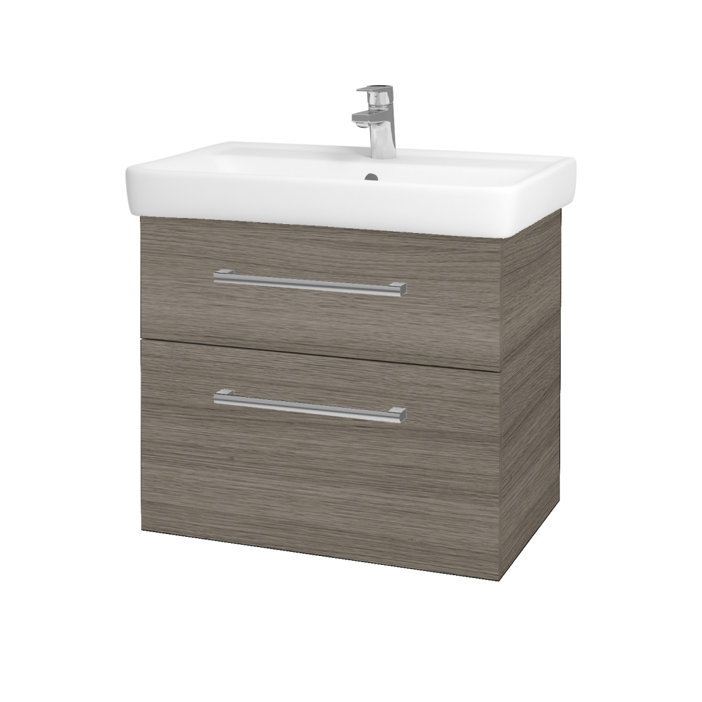Dřevojas - Koupelnová skříňka Q MAX SZZ2 70 - D03 Cafe / Úchytka T03 / D03 Cafe (68458C)