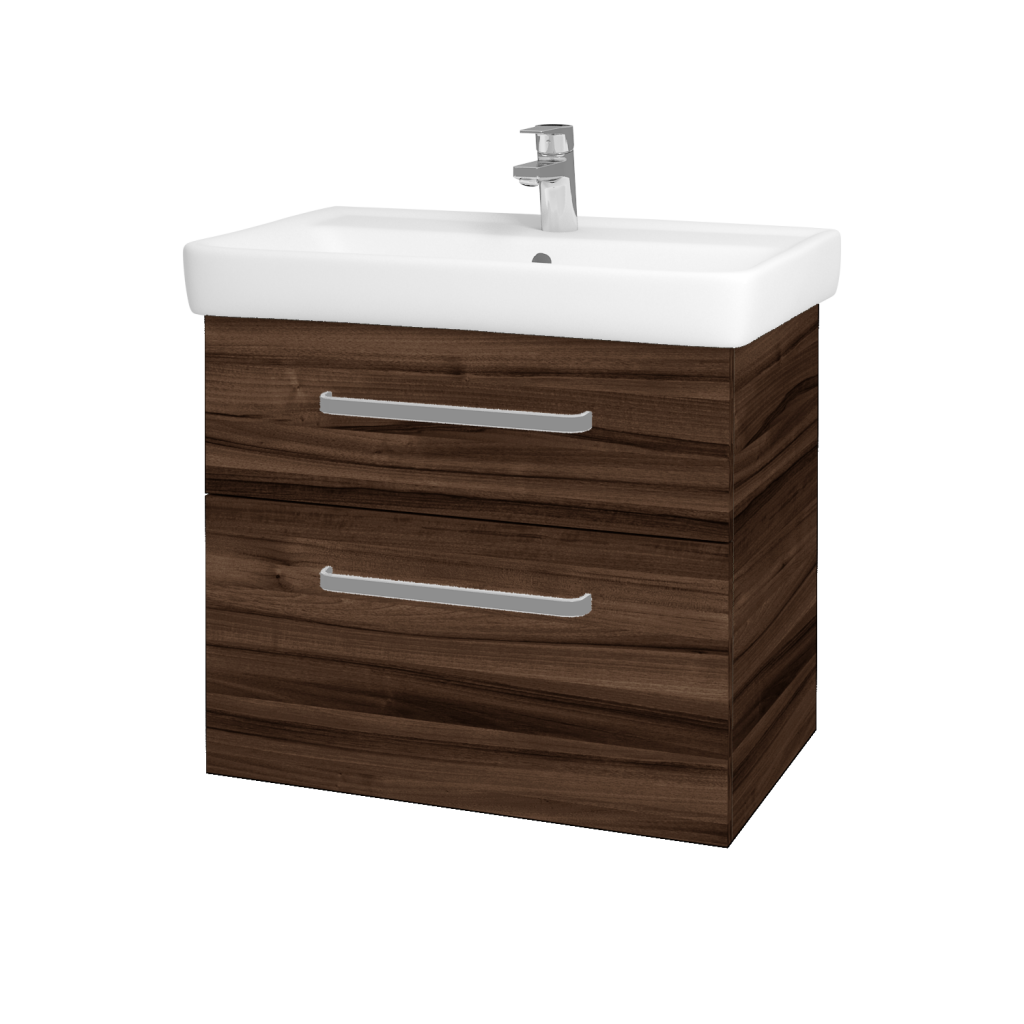 Dřevojas - Koupelnová skříňka Q MAX SZZ2 70 - D06 Ořech / Úchytka T01 / D06 Ořech (60414A)