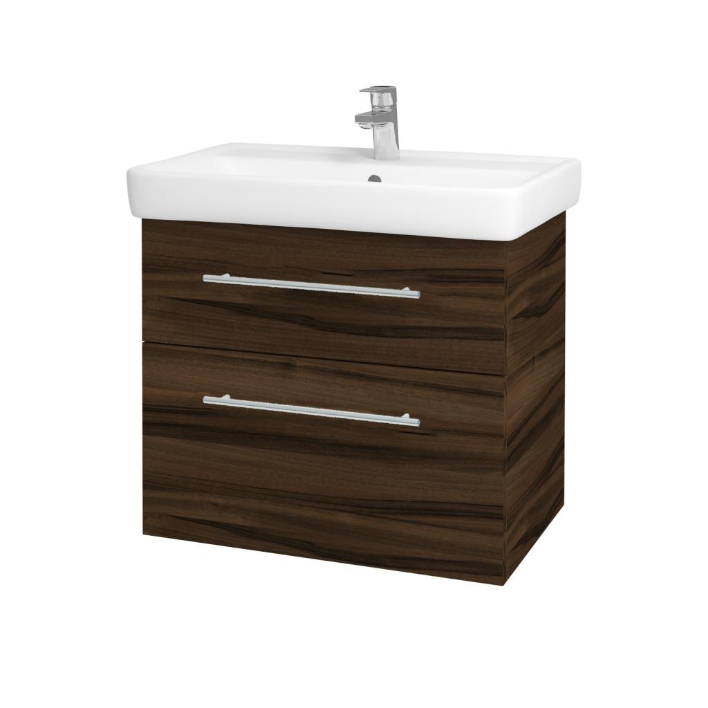 Dřevojas - Koupelnová skříňka Q MAX SZZ2 70 - D06 Ořech / Úchytka T02 / D06 Ořech (60414B)
