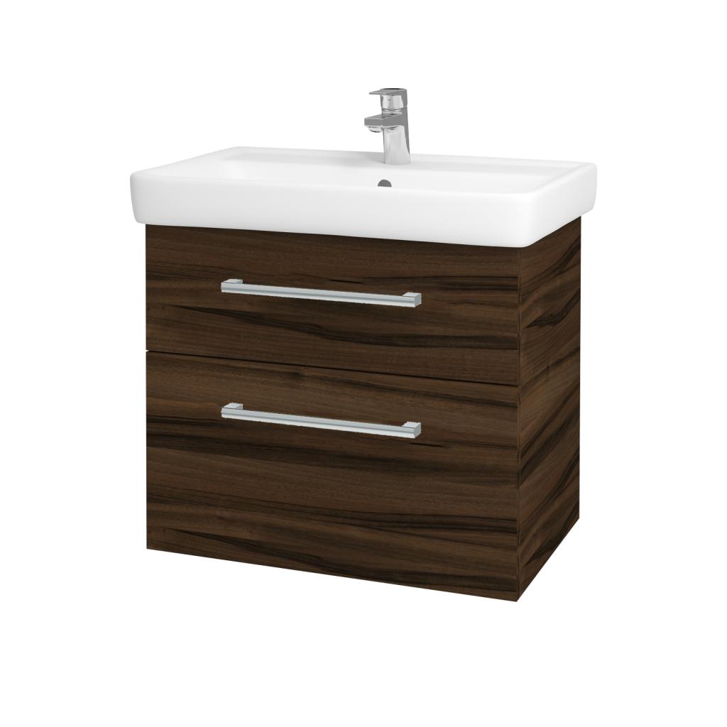Dřevojas - Koupelnová skříňka Q MAX SZZ2 70 - D06 Ořech / Úchytka T03 / D06 Ořech (60414C)