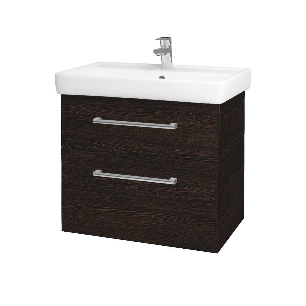 Dřevojas - Koupelnová skříňka Q MAX SZZ2 70 - D08 Wenge / Úchytka T03 / D08 Wenge (60315C)