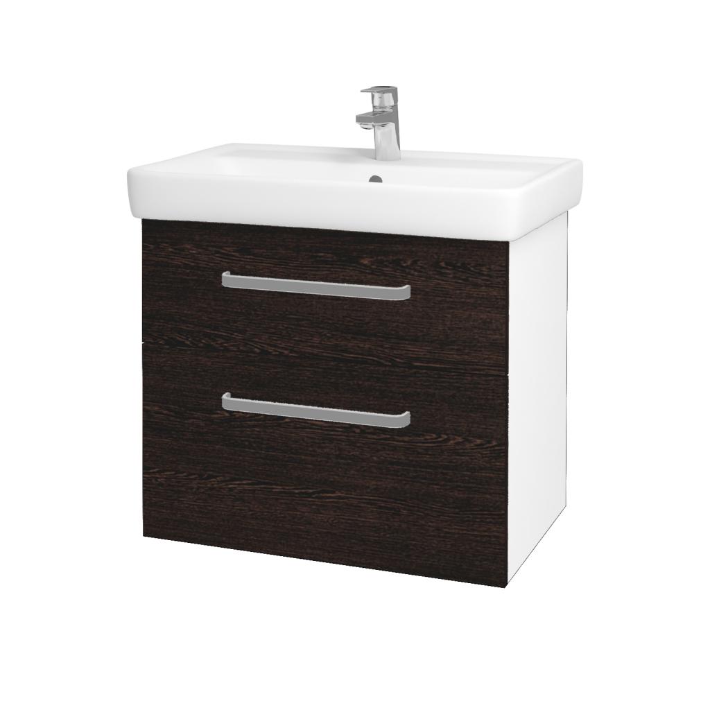 Dřevojas - Koupelnová skříňka Q MAX SZZ2 70 - N01 Bílá lesk / Úchytka T01 / D08 Wenge (60063A)