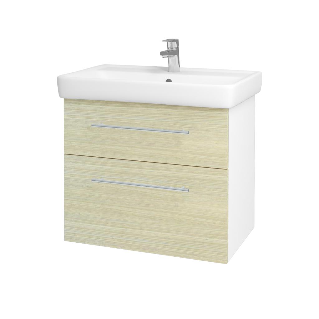 Dřevojas - Koupelnová skříňka Q MAX SZZ2 70 - N01 Bílá lesk / Úchytka T02 / D04 Dub (60247B)