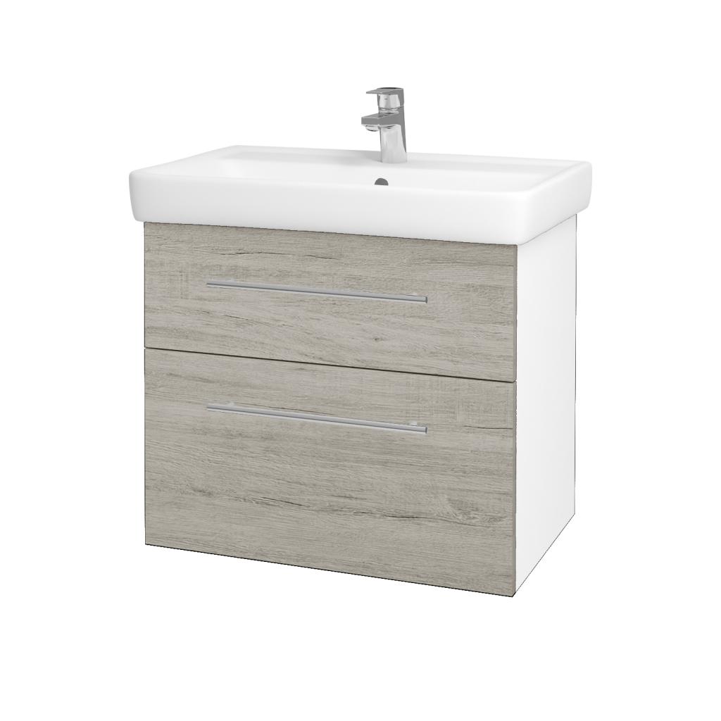 Dřevojas - Koupelnová skříňka Q MAX SZZ2 70 - N01 Bílá lesk / Úchytka T02 / D05 Oregon (61732B)
