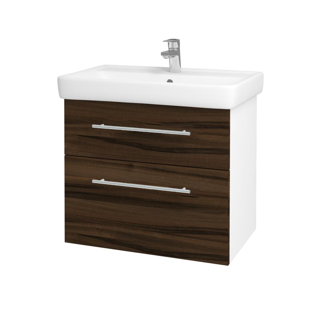 Dřevojas - Koupelnová skříňka Q MAX SZZ2 70 - N01 Bílá lesk / Úchytka T02 / D06 Ořech (60254B)