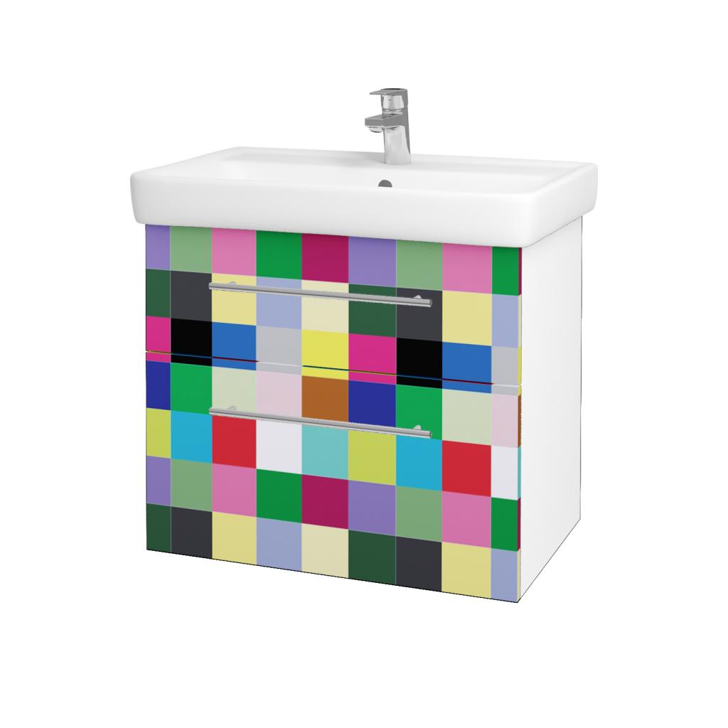 Dřevojas - Koupelnová skříňka Q MAX SZZ2 70 - N01 Bílá lesk / Úchytka T02 / IND Individual (61565B)