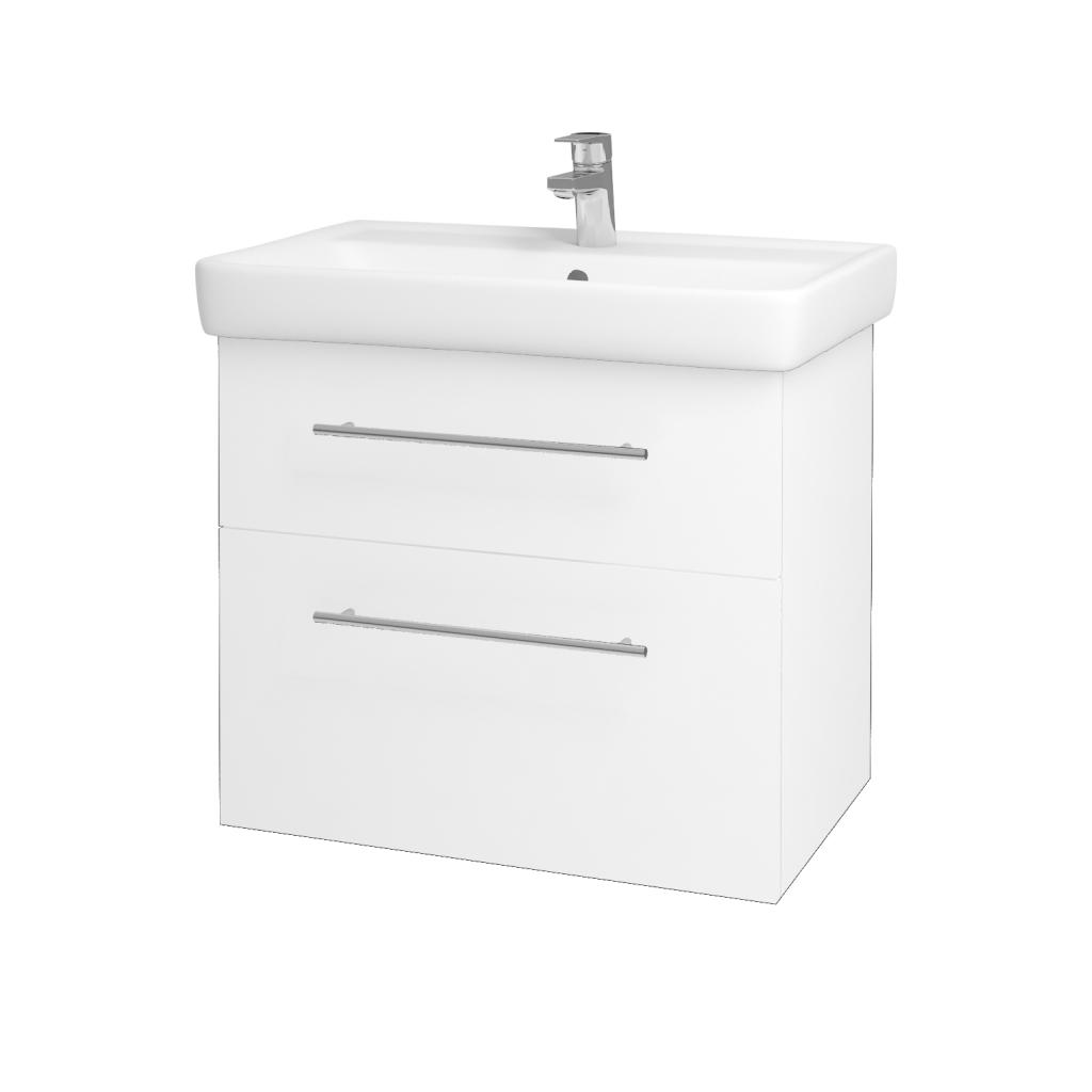 Dřevojas - Koupelnová skříňka Q MAX SZZ2 70 - N01 Bílá lesk / Úchytka T02 / L01 Bílá vysoký lesk (60155B)