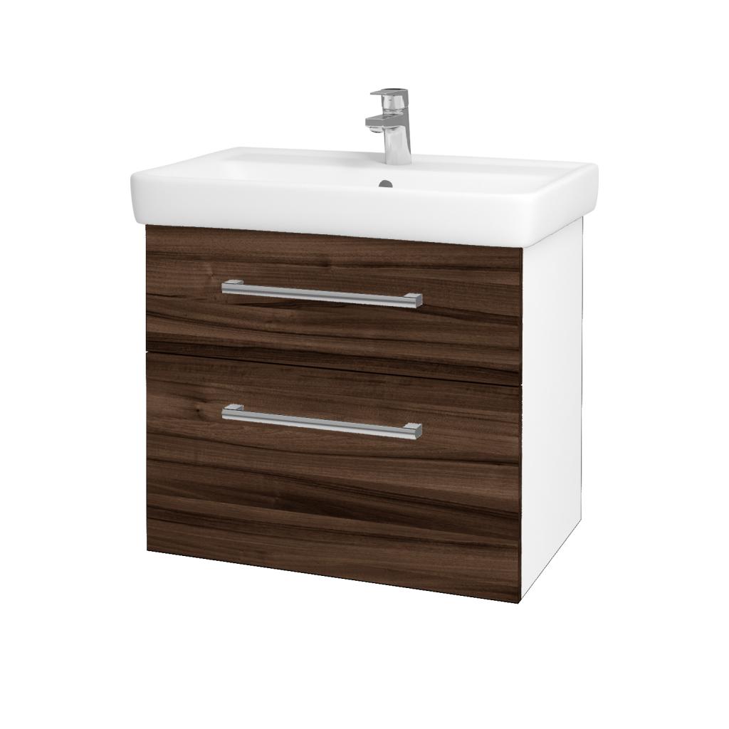Dřevojas - Koupelnová skříňka Q MAX SZZ2 70 - N01 Bílá lesk / Úchytka T03 / D06 Ořech (60254C)
