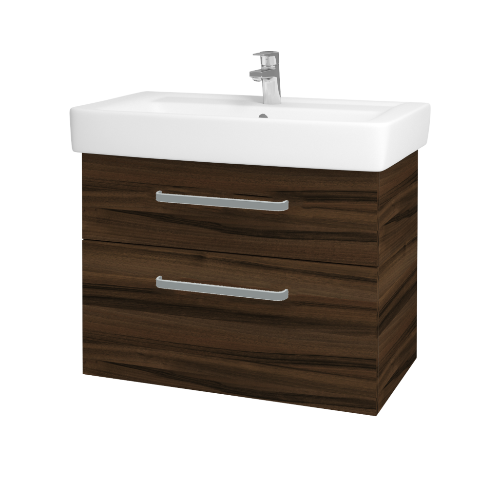 Dřevojas - Koupelnová skříňka Q MAX SZZ2 80 - D06 Ořech / Úchytka T01 / D06 Ořech (60476A)