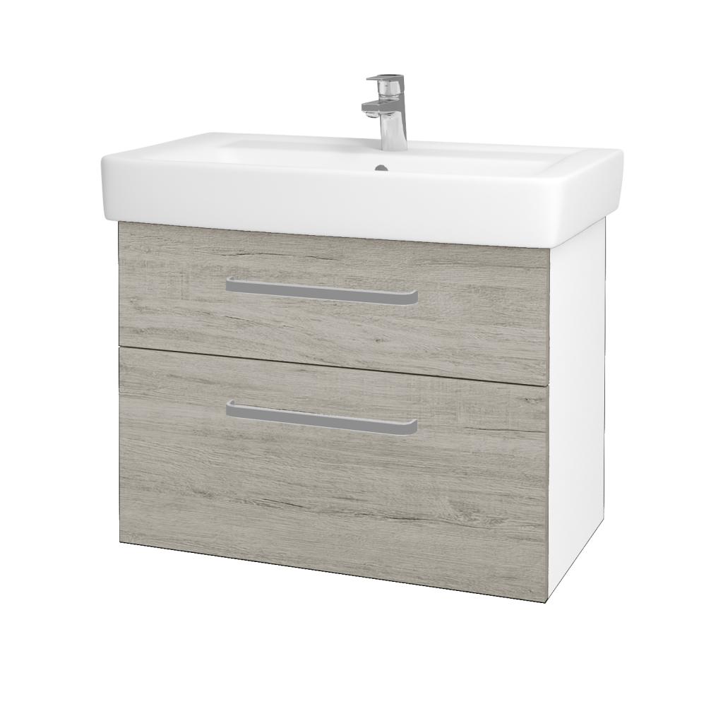 Dřevojas - Koupelnová skříňka Q MAX SZZ2 80 - N01 Bílá lesk / Úchytka T01 / D05 Oregon (61749A)