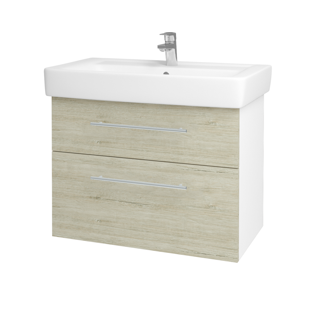 Dřevojas - Koupelnová skříňka Q MAX SZZ2 80 - N01 Bílá lesk / Úchytka T02 / D05 Oregon (61749B)