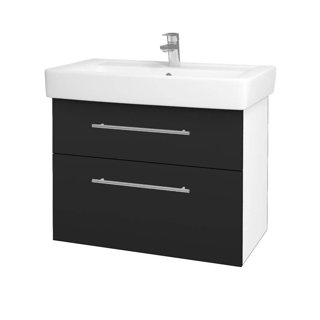 Dřevojas - Koupelnová skříňka Q MAX SZZ2 80 - N01 Bílá lesk / Úchytka T02 / L03 Antracit vysoký lesk (60186B)