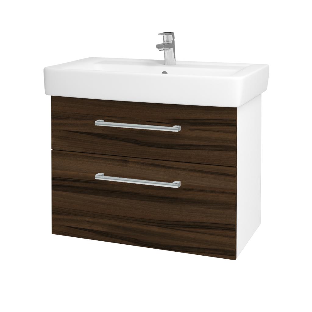 Dřevojas - Koupelnová skříňka Q MAX SZZ2 80 - N01 Bílá lesk / Úchytka T03 / D06 Ořech (60278C)