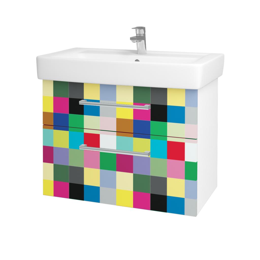 Dřevojas - Koupelnová skříňka Q MAX SZZ2 80 - N01 Bílá lesk / Úchytka T03 / IND Individual (61572C)