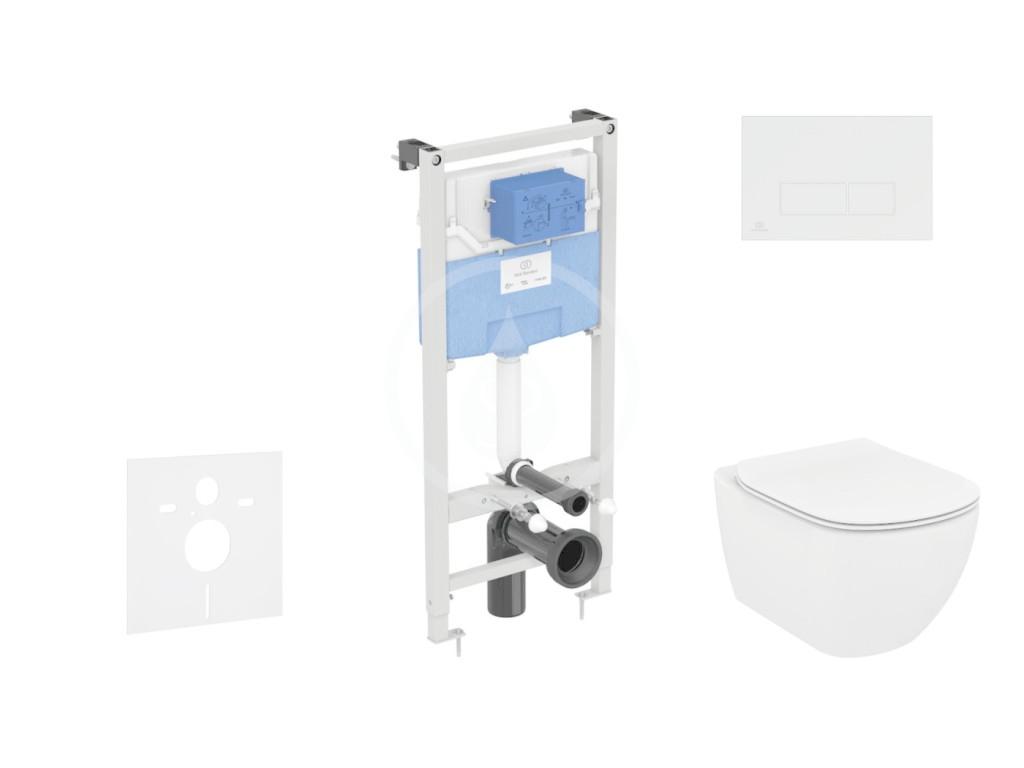 IDEAL STANDARD - ProSys Set předstěnové instalace, klozetu a sedátka  Tesi, tlačítka Oleas M2, Rimless, SoftClose, chrom mat (ProSys120M SP8)