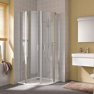 Kermi Čtvrtkruh Cada XS P55 10120 975-1000/2000 stříbrná vys.lesk ESG čiré Clean Čtvrtkruh (kyvné dveře s pevnými poli) (CCP5510120VPK)