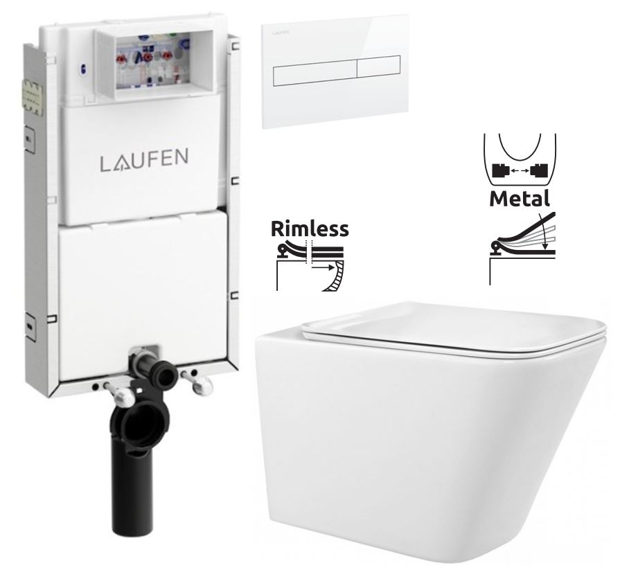LAUFEN Podomít. systém LIS TW1 SET s bílým tlačítkem + WC REA  Raul Rimless + SEDÁTKO (H8946630000001BI RA1)