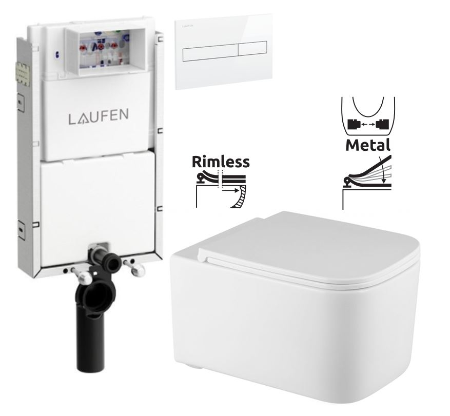 LAUFEN Podomít. systém LIS TW1 SET s bílým tlačítkem + WC REA Tino Rimless + SEDÁTKO (H8946630000001BI TR1)