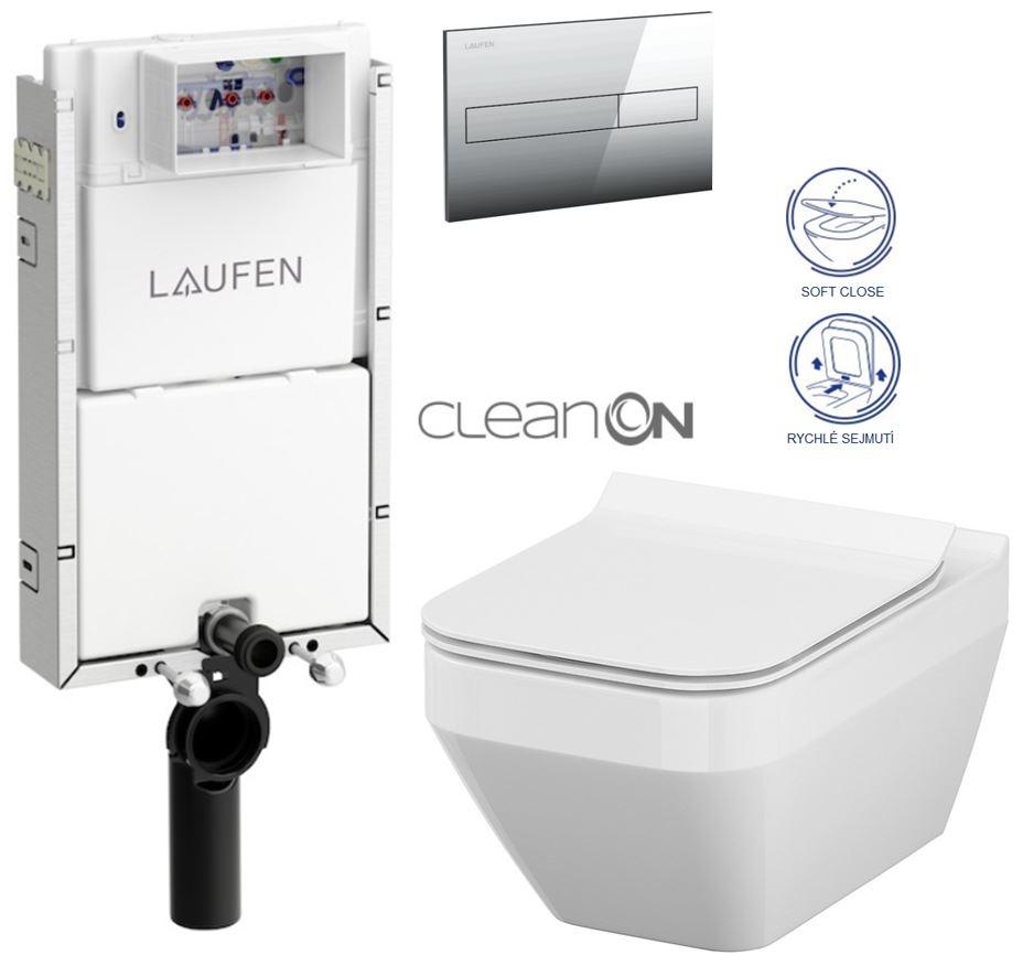 LAUFEN Podomít. systém LIS TW1 SET s chromovým tlačítkem + WC CERSANIT CLEANON CREA čtverec + SEDÁTKO (H8946630000001CR CR2)