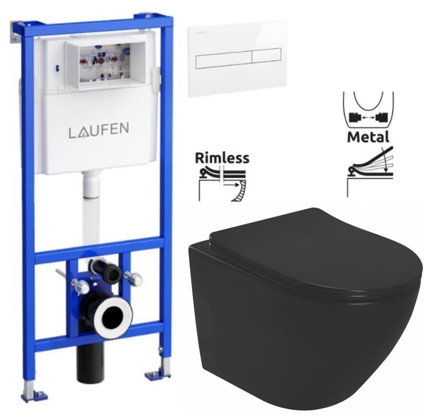 LAUFEN Rámový podomítkový modul CW1 SET s bílým tlačítkem + WC REA CARLO MINI RIMLESS ČIERNY MAT + SEDADLO (H8946600000001BI MM1)