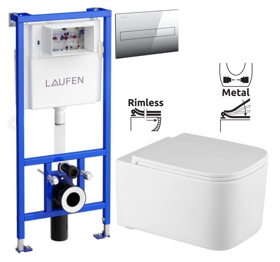 LAUFEN Rámový podomítkový modul CW1 SET s chromovým tlačítkem + WC REA Tino Rimless + SEDÁTKO (H8946600000001CR TR1)