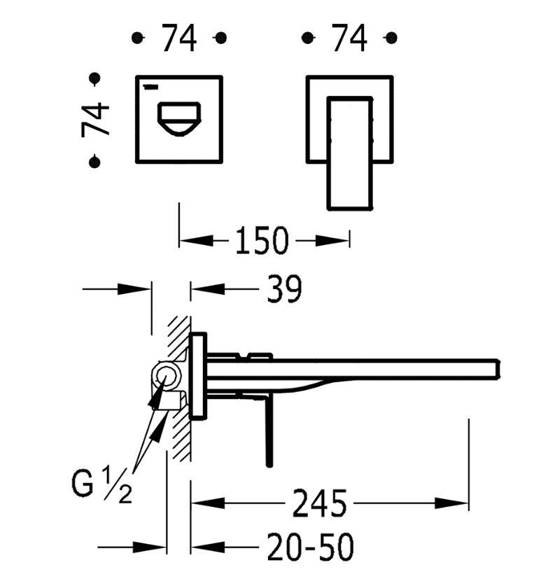 TRES - Jednopáková nástěnná baterieVčetně nerozdělitelného zabudovaného tělesa. Ramínko 245mm. (00620011OR)