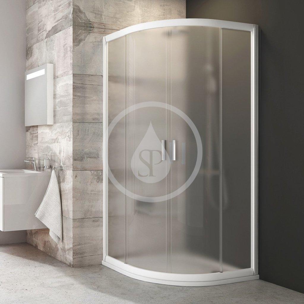 RAVAK - Blix Čtvrtkruhový sprchový kout čtyřdílný BLCP4-90, 880-900 mm, bílá/sklo Grape (3B270100ZG)