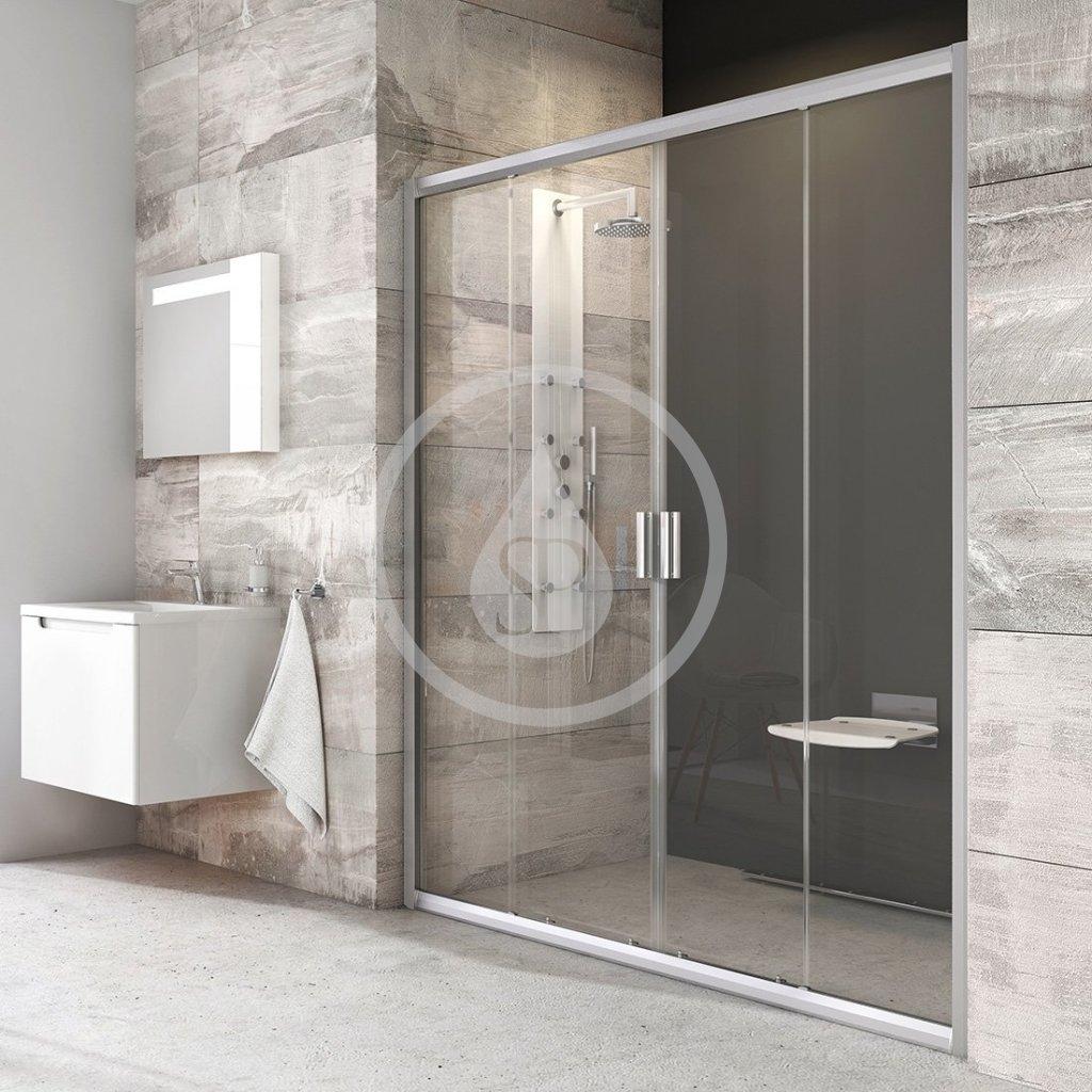 RAVAK - Blix Sprchové dveře čtyřdílné BLDP4-160, 1570-1610 mm, satin/čiré sklo (0YVS0U00Z1)