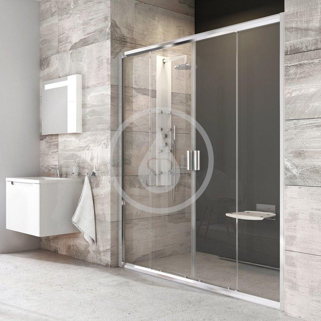 RAVAK - Blix Sprchové dveře čtyřdílné BLDP4-180, 1770-1810 mm, lesklý hliník/čiré sklo (0YVY0C00Z1)