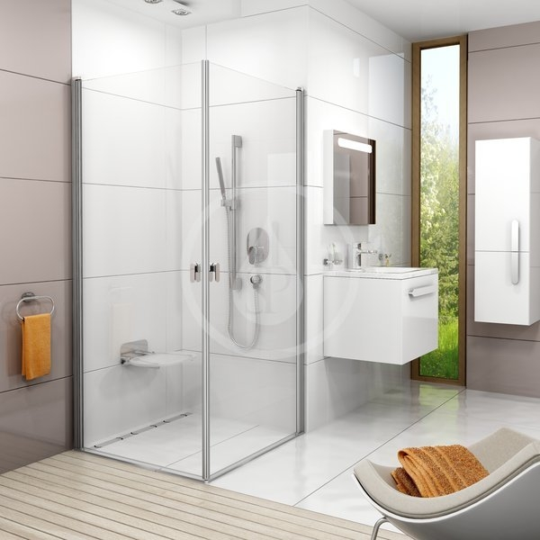 RAVAK - Chrome Sprchové dveře CRV1-90, 880-900 mm, lesklý hliník/čiré sklo (1QV70C01Z1)