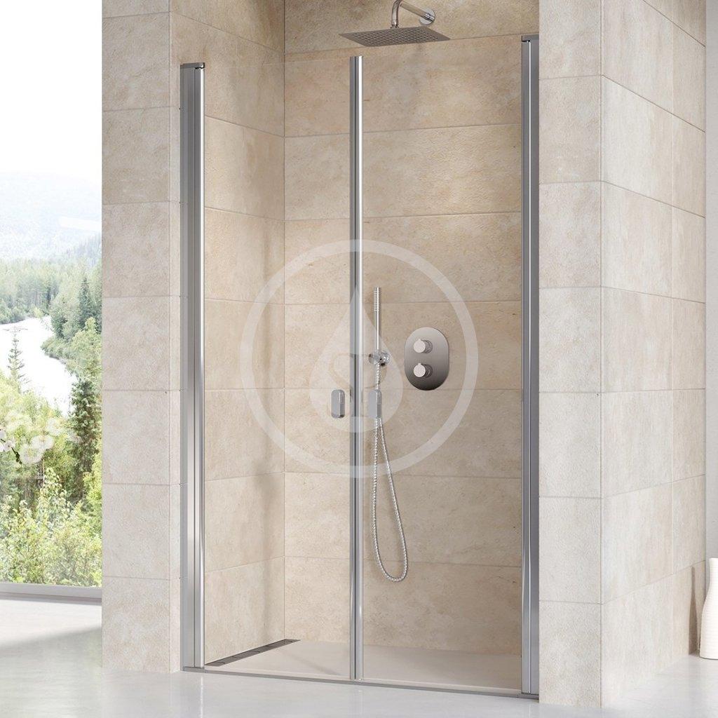 RAVAK - Chrome Sprchové dveře dvoukřídlé CSDL2-100, 975-1005 mm, lesklý hliník/čiré sklo (0QVACC0LZ1)