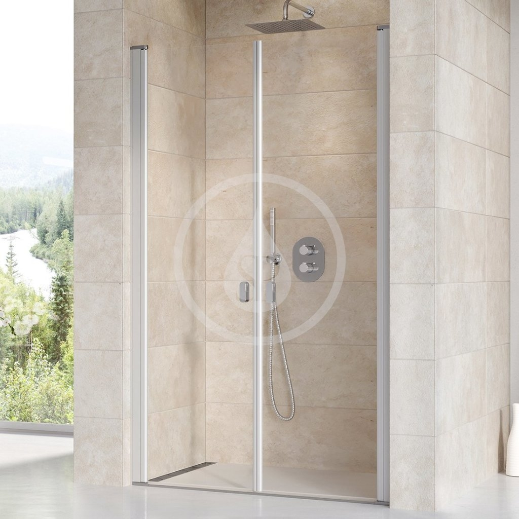 RAVAK - Chrome Sprchové dveře dvoukřídlé CSDL2-100, 975-1005 mm, satin/čiré sklo (0QVACU0LZ1)